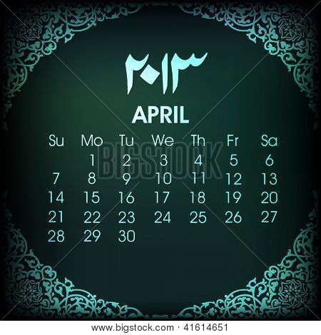 Islamic April month Calender 2013. EPS 10. poster