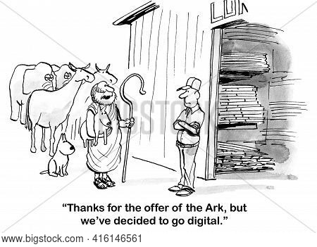 Noah Tells Home Supply Salesperson That He Does Not Intend To Build An Ark.