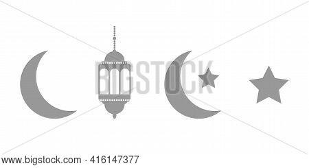 Gray Lanterns, Crescent And Stars Set On White Background. Ramadan Dark Icons. Celebration Design El