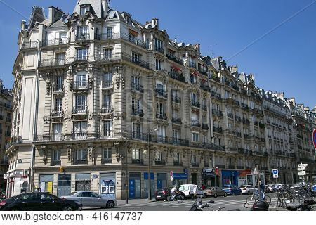France, Paris, May, 20, 2015 - Old Historical Stone Parisian Buildings In The Center Of Paris - Capi