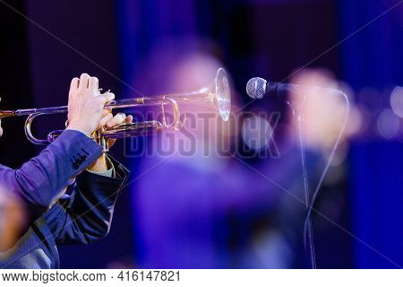 The Trumpet Player At The Jazz Concert