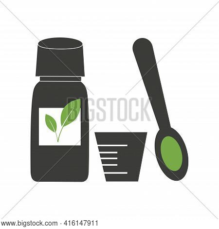 Vegetable Cough Syrup. A Bottle Of Medicine, A Measuring Spoon And A Cup. Black Silhouette Isolated