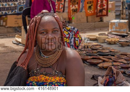 Windhoek, Namibia - Jan 19. 2021: Portrait Of Himba Woman Which Selling Souvenirs At Windhoek Center