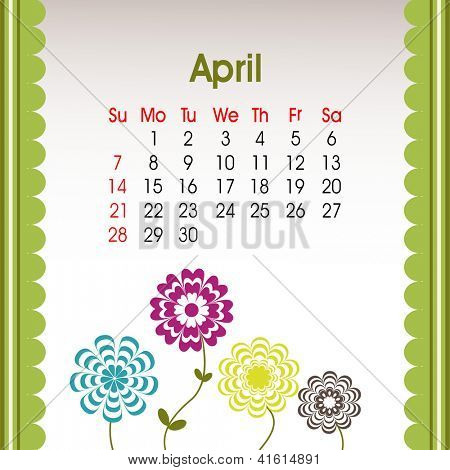 Floral decorated, April month calender 2013. EPS 10.