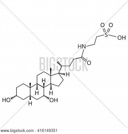 Taurochenodeoxycholic Acid. Bile Acid. Chemical Molecular Formula Of Taurochenodeoxycholic Acid. Vec