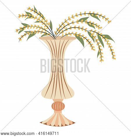 Small Yellow Flowers In Figured Vase. Floral Vase. Blooming Spring Flowers. Illustration Vase With F