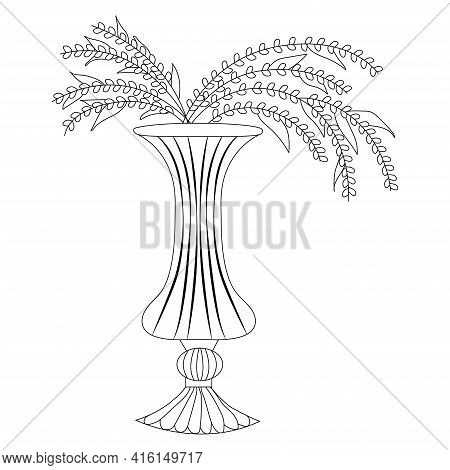 Small Flowers In Figured Vase Hand Drawn. Floral Vase. Blooming Spring Flowers. Illustration Vase Wi