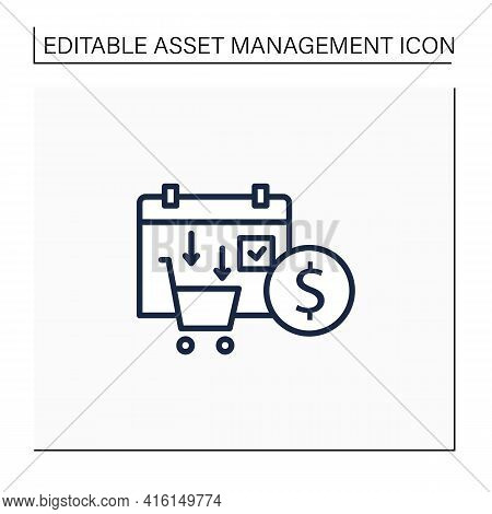 Asset Purchase Date Line Icon.stock Purchase Process. Calendar. Business Concept. Isolated Vector Il
