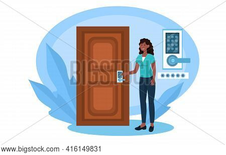 Cheerful Female Character Is Opening Door With Numeric Lock. Concept Of Intercom Security For Apartm