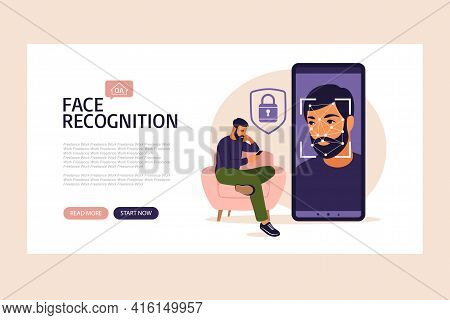 Facial Recognition System Landing Page. Face Id. Mobile App For Face Recognition. Facial Biometric I