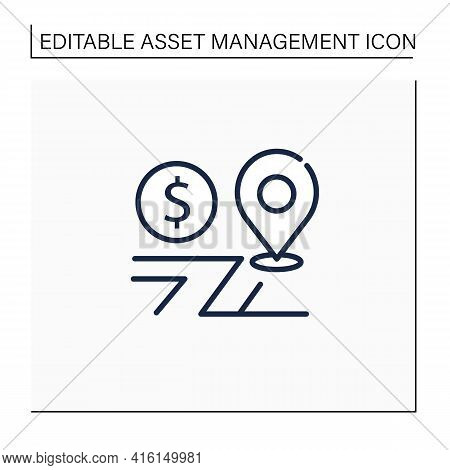 Assets Location Line Icon. Investments Distribution By Savings Vehicles.tax Accounts, Tax Deferred A