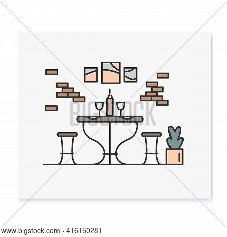 Kitchen Color Icon.dining Room With Dinner Table And Chairs.home Interior And Household Lifestyle Co