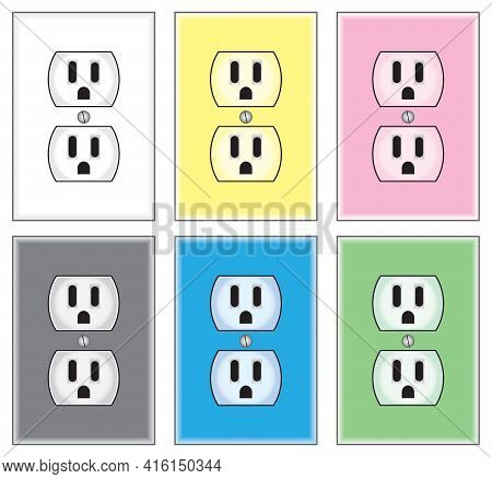 Six Electrical Wall Outlets In A Variety Of Colors