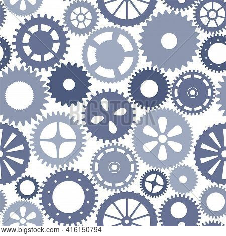 Vector Seamless Patern Gears. Monochrome Round Gear Elements Of The Mechanism. Isolated Details On W