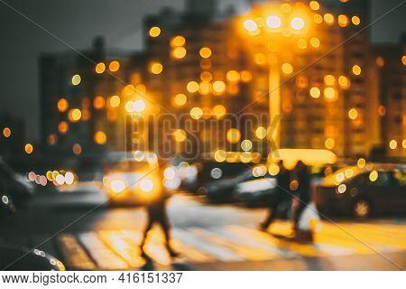 Defocused Abstract Boke Bokeh Urban City Background Effect. Blurred Design Backdrop In Trend 2021 Co