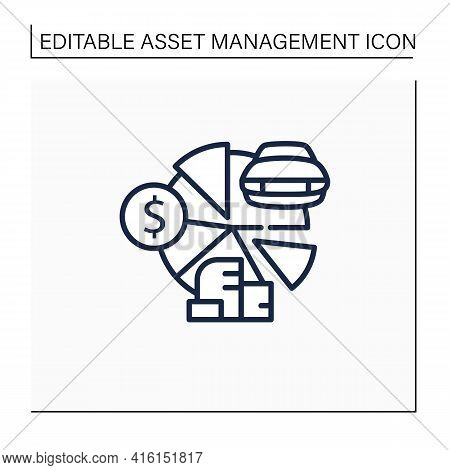 Total Asset Count Line Icon. All Ownership Aspects.car, Cash, Accounts Receivable, Private Property.