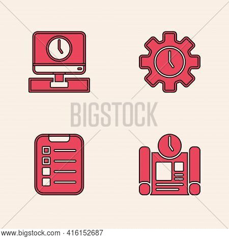 Set Project Time Plan, Monitor, Time Management And To Do List Planning Icon. Vector