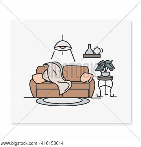 Living Room Interior Color Icon.comfortable Living Room. Modern Lounge With Comfortable Sofa. Apartm