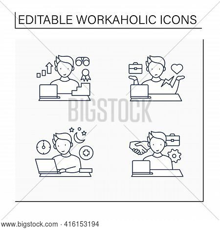 Workaholic Line Icons Set. Workaholism Prevention, Consequences. Workaholism Treatment, Ethic, Dilem