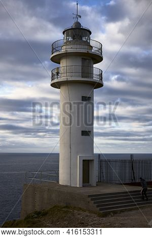 Muxía (spain), April 1, 2021. Cape Touriñán Lighthouse. It Is The Westernmost Point Of Spain, It Is