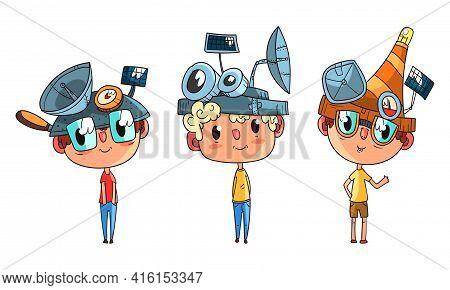 Boys In Steampunk Headgear Set, Children Doing Scientific Experiments Vector Illustration