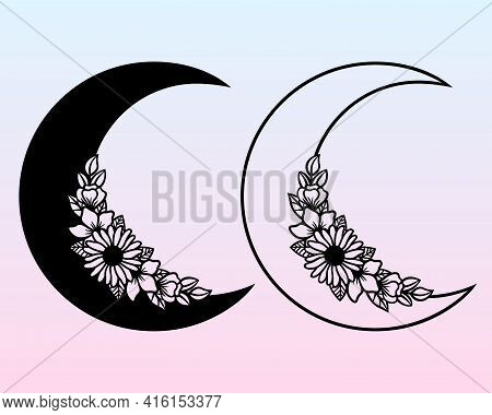Vector Crescent Moon With Flowers. Decorative Illustration In Boho Style. Hand-drawn Ethnic Symbol.