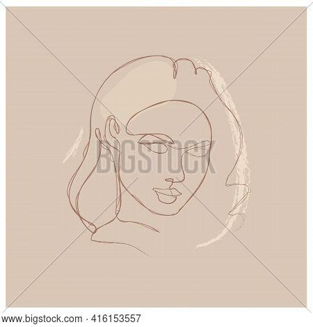 Elegant Minimalist Portrait Continuous Silhouette Chalk Art. Contemporary Portrait. Pretty Face. Fli