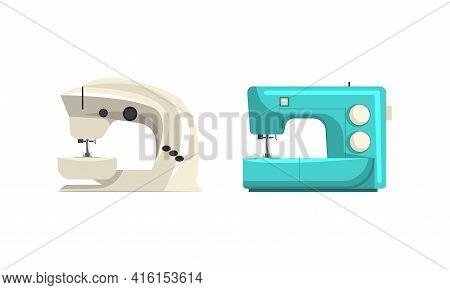 Modern Sewing Machines Set, Dressmaker Sewing Equipment Flat Vector Illustration