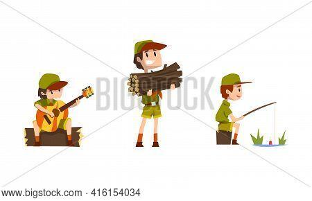 Scouting Boys Set, Boy Scouts Wearing Khaki Uniform Playing Guitar, Fishing Vector Illustration