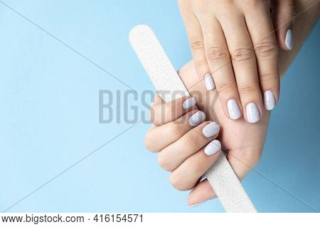 Manicure. Gray Nails. Design - Crumb On Nails. Light Fashionable Manicure On Female Hands.