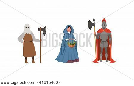 Medieval Characters Dressed Ancient Clothes Set, Executioner, Armed Knight, Woman Citizen Of Medieva