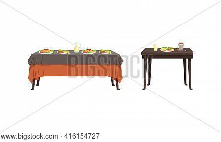 Served Tables With Food Dishes Set, Banquet Table With Drinks And Tasty Meals Vector Illustration