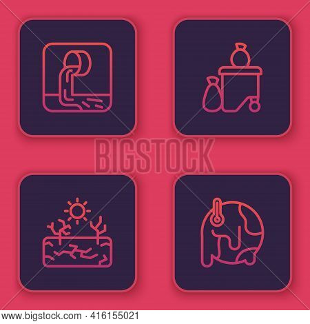 Set Line Wastewater, Drought, Full Dustbin And Global Warming. Blue Square Button. Vector
