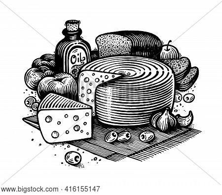 Still Life With Cheese, Vector Illustration. Drawing With An Ink Pen And Pencil. Still Life With Che