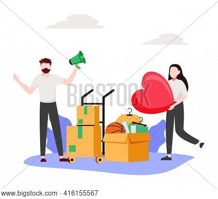 Help People Abstract Concept Vector Illustration. Refugees, Volunteering And Social Services, Asylum