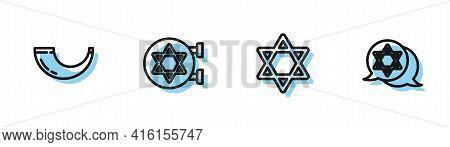 Set Line Star Of David, Traditional Ram Horn, Shofar, Jewish Synagogue And Icon. Vector