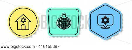 Set Line Jewish Synagogue, Pomegranate And Star Of David. Colored Shapes. Vector
