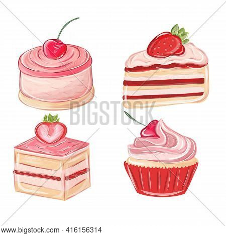 Collection Of Desserts Made Of Chocolate, Frosting And Biscuit. Cartoon Cakes. Colorful Delicious De