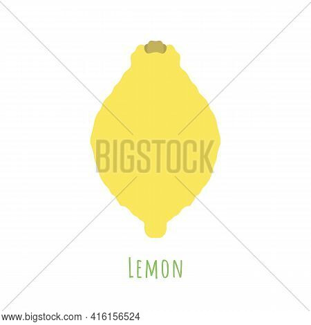 Single One Lemon Fruit Isolated On White, Made In Flat Style. No Outlined Symmetrical Shape Filled W