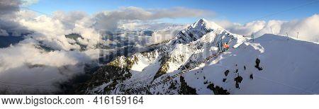 Mountain Peaks Of The Caucasus At Krasnaya Polyana, The Village Rosa Khutor, Winter Sports Resort Of