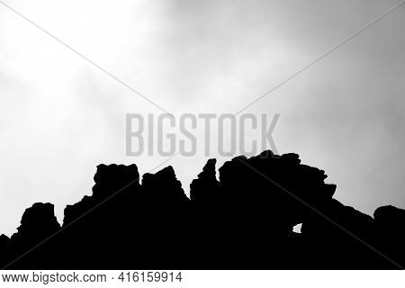 Silhouette Of Cliffs, Clouds And Sky In Mount Roraima.