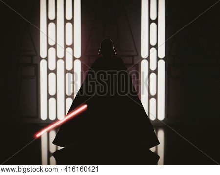 APRIL 8 2021: Silhouette of Star Wars Sith Lord Darth Vader - Hasbro action figure