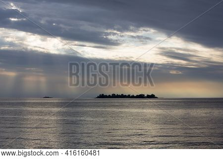Fantastic Colored Sunset On The River Rio De La Plata. A Tapering Intrusion Of The Atlantic Ocean On