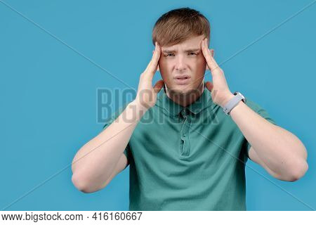 Sick Man, Tense, Tired, Nervous Guy, Suffering From Pain, Headache, Migraine, Holding On To The Sick