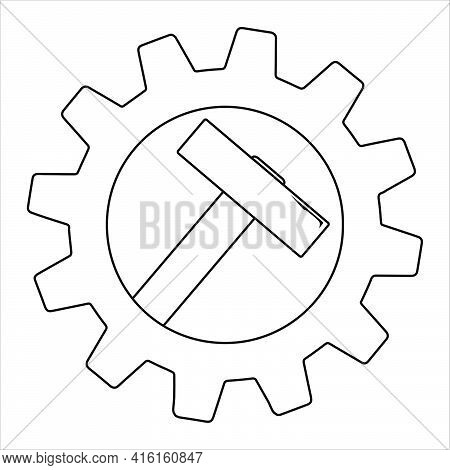 Simple Icon Of Hammer On Gear For Web