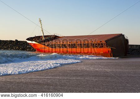 Anglet, France, March 9: Luno Shipwreck On The Beach Of Anglet, South France 2014