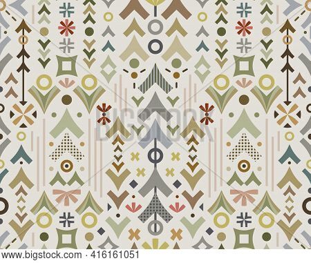 This Conceptual Geometric Surface Pattern Celebrates Outdoors Adventure, Representing Woodland, Fore