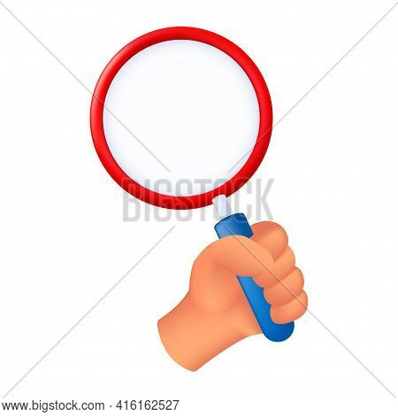 Human Hand Holding A Magnifying Glass. 3d Cartoon Vector Illustration Of A Male Hand With A Loupe Is