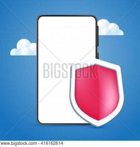 Mobile Phone Cybersecurity Service Design Concept With An Empty White Screen. Realistic 3d Vector Il