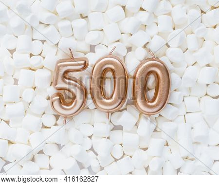 500 Followers Card. Template For Social Networks, Blogs. Background With White Marshmallows. Social